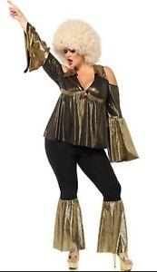 1970's Disco Diva Plus Size Bell Bottoms 2pc Black & Gold Costume 3X/4X 85596X