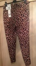 Zara Leopard Print Chino Style Slit Hem Trousers Size 12