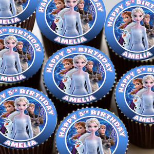 FROZEN 2 PERSONALISED BIRTHDAY EDIBLE ICING CUPCAKE TOPPER DECORATIONS C319