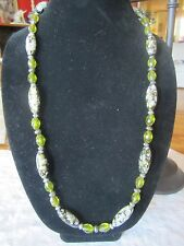 Beaded Necklace and Earring Set Speckled and Green Faceted Acrylic