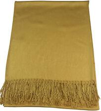 LIGHT GOLD Tinta Unita Design Scialle Pashmina Sciarpa Wrap Stola CJ Apparel * NUOVO *