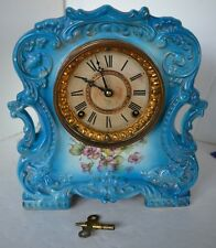 Vintage Tally Ansonia Royal Bonn  ? Porcelain Mantle Clock Works Gold Trim