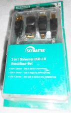 3in1 UNIVERSAL USB 2.0 Anschluss SET A B A Mini B5 Stecker Kupplung 2m Kabel NEU