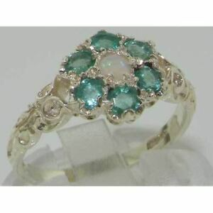 10ct White Gold Natural Opal & Emerald Ladies Vintage Daisy Ring - Sizes J to Z