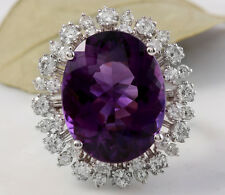 15.65 Carats Natural Amethyst and Diamond 14K Solid White Gold Ring