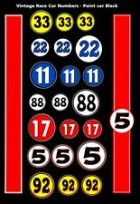 Race Car Numbers - Can Am - F1 - SCCA Black 1/64th HO Scale Slot Car Decals