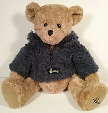 "Harrods Knightsbridge Cosy Bear Brown Large 18"" Blue Fleece Zip Jacket Pullover"