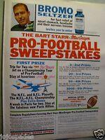 "Bart Starr Green Bay Packers 1966 BROMO SELTZER Original Print Ad-8.5 x 11"""