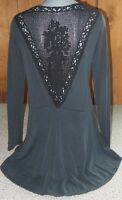 New VOCAL western SHIRT lace crochet TUNIC BLING S M L XL  SEXY slimming BLK