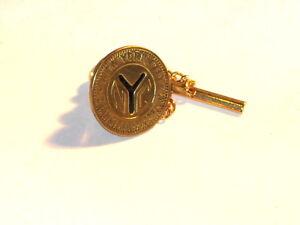 Vintage brass token tie tack with chain~1953-1970-memories!