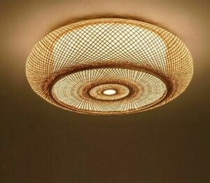 Round Light Shade Ceiling Chandelier Cover Dining Room Wooden Lampshades Modern