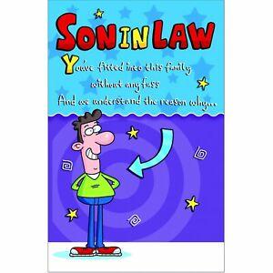 Doodlecards Funny Son in Law Birthday Card - Medium