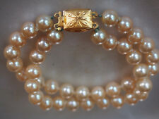 Vtg Antique Silver Gold Wash Clasp Double Row 8mm Pearl Single Knot Bracelet 31g