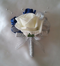 LUSSO Pin su BUSTINO Avorio Argento Navy Diamante Argento Ball SPRAY WEDDING