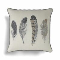 "Idaho Feather Printed Cushion Cover Luxury Cotton Covers 17"" x 17"" Charcoal Grey"