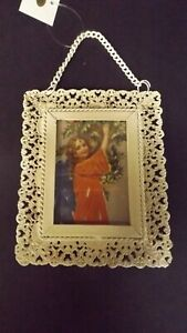 New Metal Lacey Framed Christmas Ornament Victorian Angel W Holly MWT