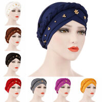 Wrap Hair Loss Head Scarf Muslim Women Turban Cap Cancer Chemo Hat Beads Braid