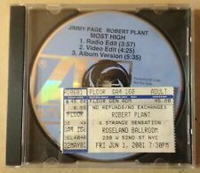 Jimmy Page Robert Plant Most High PROMO CD 3-track 1998+CONCERT TICKET STUB RARE