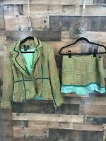 NWT True Meaning Nordstrom Women's 2pc Multicolor Tweed Fringe Blazer & Skirt