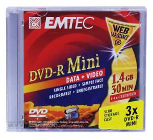 6 Stück EMTEC 4x DVD-R Mini 8cm Rohlinge 1,4GB 30min