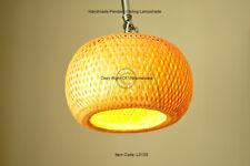 Handmade Rattan Pendant Ceiling Lampshade, Pumpkin Shape, Natural Brown, L013S