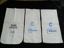 Three Vintage Cloth Money / Coin Deposit Bags, Crocker National Bank & U.S. Bank