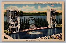 Minneapolis Minnesota MN Theodore Wirth Pool Curt Teich Linen Postcard 1949