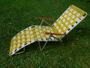Vintage Aluminum Folding Webbed CHAISE LOUNGE Adjustable Lawn Chair w Wood Arms