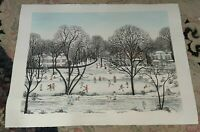 """Cuca Romley Signed Listed Hand Colored """"Winter Games The Hamptons"""" Art Etching"""