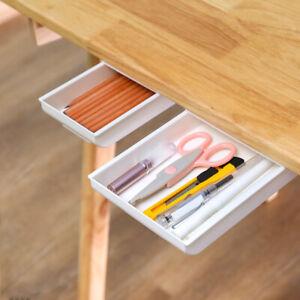 Under Desk Table Drawer Tray Pencil Organizer Hidden Storage Box Self Adhesive