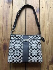 Coach gray & black logo square shoulder bag purse - silver hardware, adjustable