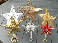Small Metal Glitter Star Silver Gold White Star Christmas Tree Topper Decoration