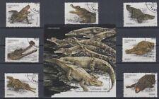 Crocodile/alligators - very nice set with mini sheet used from Tanzania