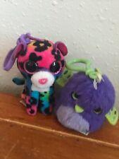 Hatchimals Baby Dino & Ty Rainbow Dotty Stuf Gently Used Lot of 2 Purple & Green