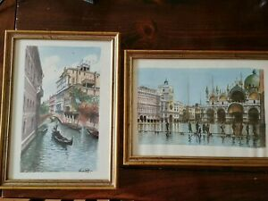 Original  Salvini Signed Mid Century Watercolor Prints Vintage Framed Set of 2