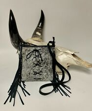 Raviani Crossbody Shoulder Bag In Hair On Leather W/leather Lace W/ Fringe USA