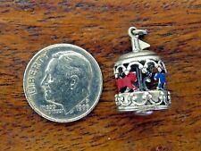 Vintage silver VICTORIAN AMUSEMENT PARK MOVABLE MERRY GO ROUND CAROUSEL charm