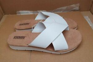 KHOMBU 'Jenny' Crossover Comfort Sandals/Sliders - White - UK 4