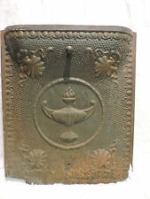 ANTIQUE LATE 1800'S TIN ORNATE SUMMER FIREPLACE COVER TORCH DESIGN