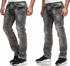 Pantalones Vaqueros de Hombre Lavado Corte Recto Regular Stretch Gris Oscuro