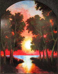 Gwen Peine TOOMALATAI, Original Mixed Media on Board, Sunrise, Signed #1