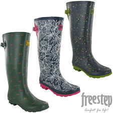 Freestep Womens Wellingtons Boots Printed Design Tall Buckle Rubber Rain Snow