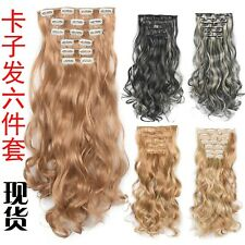 Clip In Hair Extensions 6pcs/set Hairpiece 20inch 140g Synthetic Wigs Linen