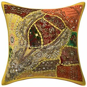 Traditional Cotton Outdoor Cushion Covers Yellow Beaded Neck Pillow Covers