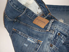 Teenage Boy Blue Abercrombie Baxter Low rise Slim Boot Jeans  Age 16 Button Fly