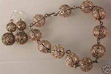 Bracelet Earrings Set Antique Filigree Sterling Silver
