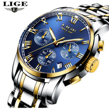 LIGE Luxury Mens Stainless Steel Automatic Mechanical Tourbillon Watch Invicta