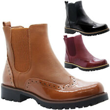 Womens Ankle Chelsea Brogues Boots Ladies Block Heels Slip On Office Shoes Size