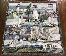 Old Pigeon Battery Point Montara Arena California Lighthouses Throw Blanket New
