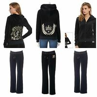 NWT JUICY COUTURE Women's Black Tracksuit  Velour Jacket and Pants XS S M L XL